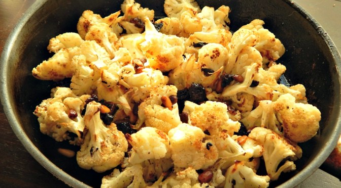 Roasted Cauliflower with Dates & Pine Nuts