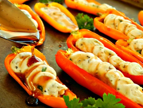Herbed Goat Cheese Stuffed Mini Peppers with Honey Balsamic Glaze