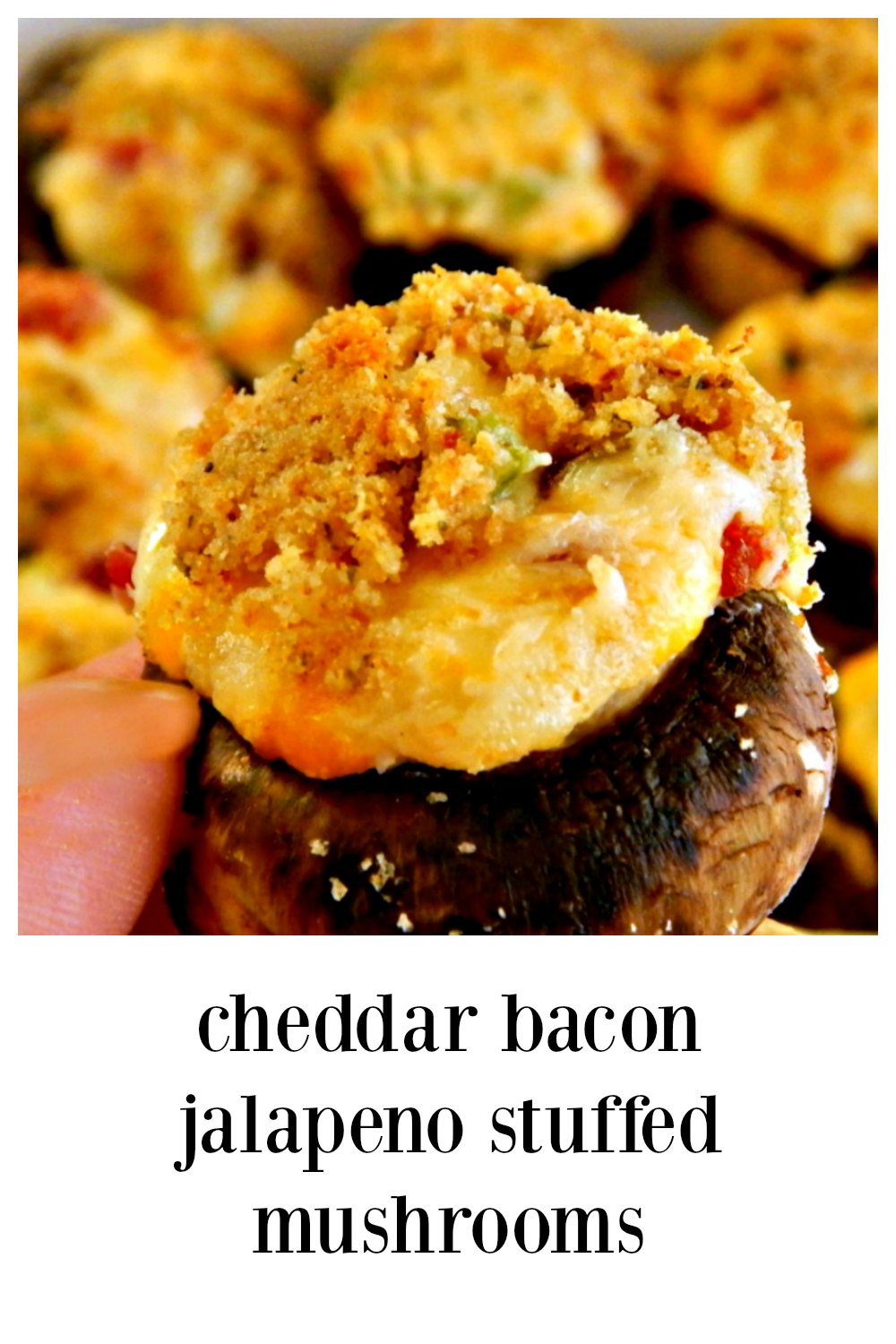 Cheddar Bacon Jalapeno Stuffed Mushrooms, inspired by Hy Vee, but def next level! So cheesy with just a hint of heat. Fabulous appetizer for a party, tailgate, barbecue or gameday! #StuffedMushrooms #Appetizers #CheddarBaconStuffedMushrooms #CheddarBaconJalapeno StuffedMushrooms