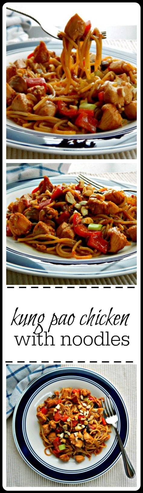Kung Pao Chicken with Noodles: an easy to make, slightly spicy sauce getting all happy with chicken & noodles.