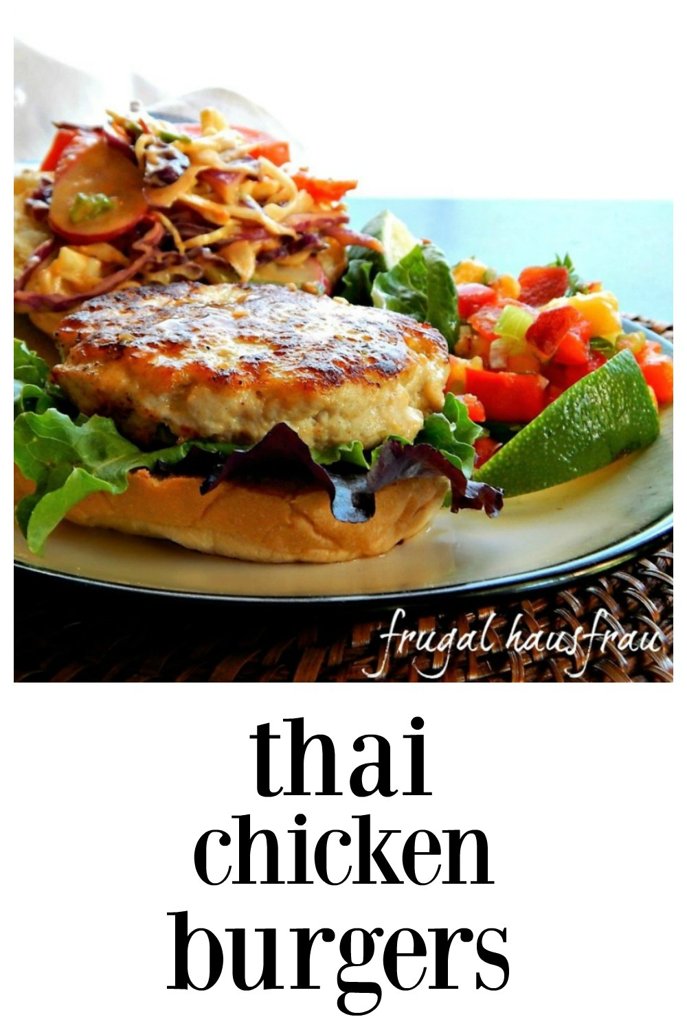 Thai Chicken Burgers are beautiful. The Thai flavors of garlic, ginger, scallions & lime are carried throughout & Thai Peanut Slaw just brings the flavor home. There's a secret that makes these juicy#ChickenBurger #ThaiChickenBurger #ThaiGrilledChicken