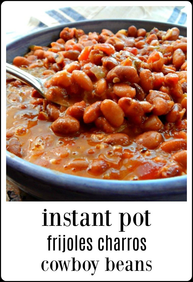 Cowboy Beans Frijoles Charros (Instant Pot) is a traditional Mexican Dish, named after the Mexican Cowboys, the Charros. Serve them just like pintos or add them to burritos & bowls #CowboyBeans #FrijolesCharrosInstantPot