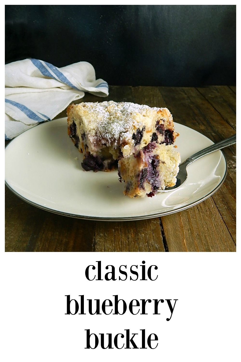 This simple Blueberry Buckle is spectacular! It's so loaded with berries you literally can't get any more in! This is moist inside, almost custardy. And the streusel topping takes it over the top. Easy to make. #BlueberryBuckle #FruitBuckle #CooksIllustratedBuckle #FruitDesserts #CoffeeCake #BlueberryCoffeeCake #SumerDessert #FallDesserts