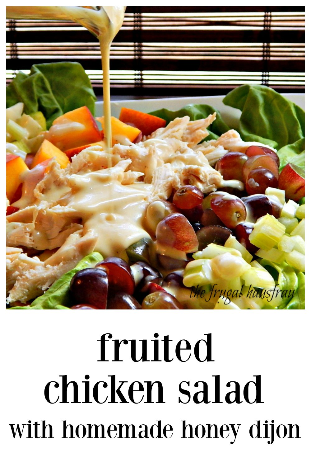 If there was such thing as a taste of summer, Fruited Chicken Salad with Honey Dijon is it! There's something for everyone & it's perfect on a hot day! #ChickenSalad #ChickenSaladFruit #ChickenSaladNectarinesGrapes #HoneyDijonDressing