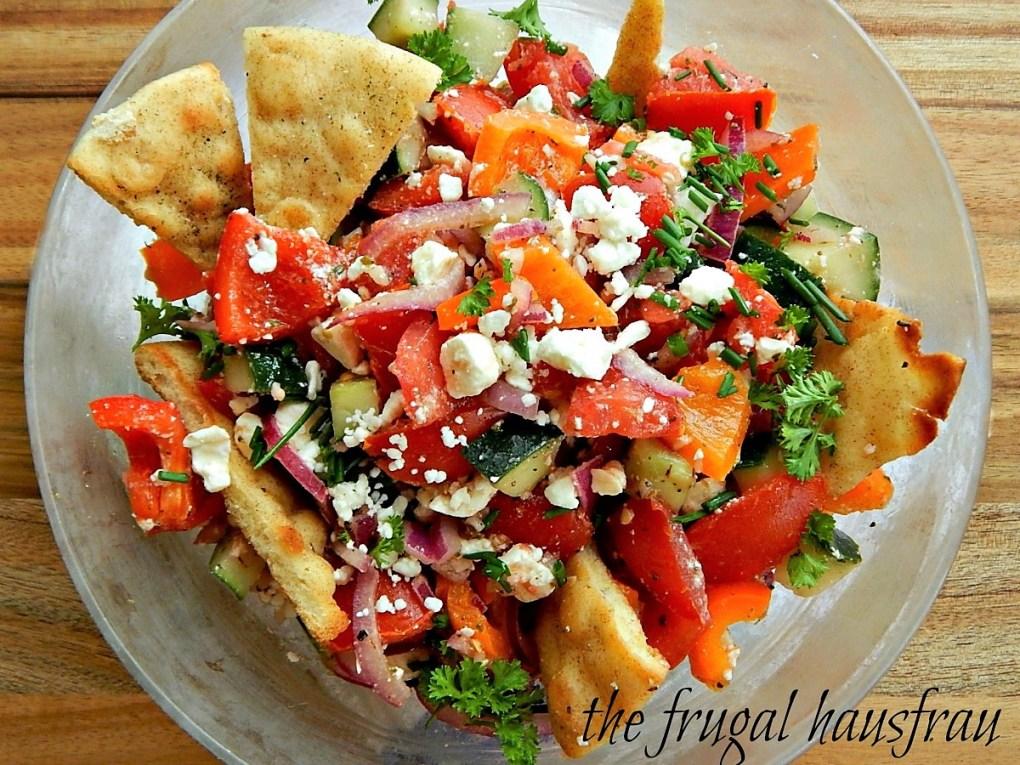 Greek Panzanella with Seasoned Oven Roasted Pita Triangles
