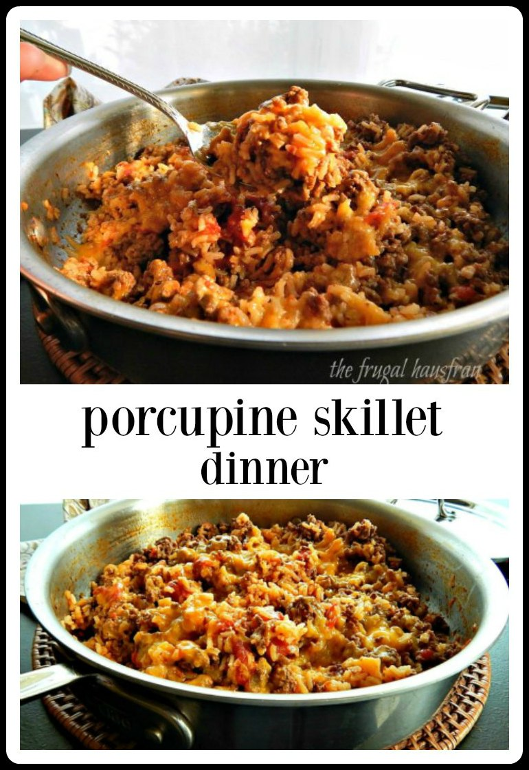 A handful of ingredients, a skillet, & you have a quick easy, no fuss Porcupine Skillet Dinner. Gotta love these down-home favorites! #PorcupineSkillet #PorcupineSkilletDinner