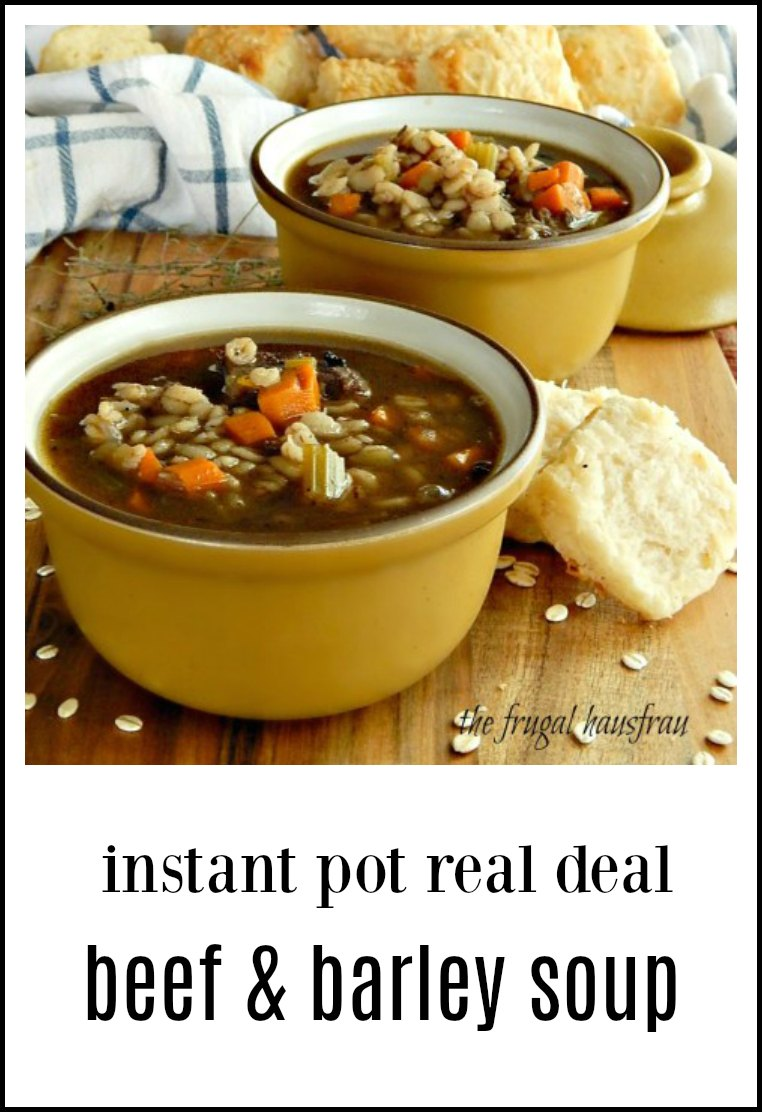 Real deal Instant Pot Beef & Barley Soup made from scratch in a fraction of the time! All of the flavor, none of the hassle! Not your back of the box recipe. This one starts from bones. #InstantPotBeefBarleySoup