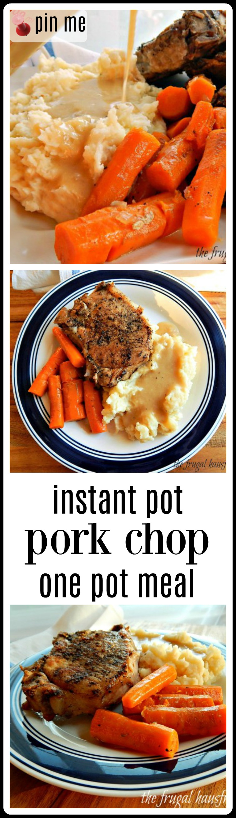 This Instant Pot Pork Chop One-Pot Meal is a fave of my folks, who are in their 80's & 90's! Big Midwestern pork chops, mashed potatoes & cream gravy & tender carrots! Midwestern Comfort perfect for a blustery day. #InstantPotPorkChops