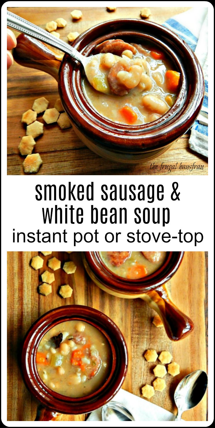 Easy Smoked Sausage & White Bean Soup - Instant Pot or Stove-top, a classic soup to warm you up from the inside out. Just the thing for a winter day! #SmokedSausageBeanSoup