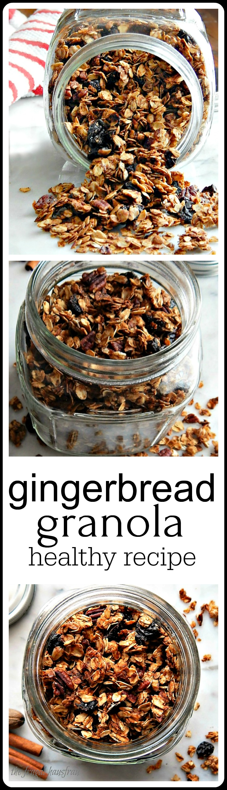Gingerbread Granola. So good it's hard to believe that it is so healthy! Easy to make. Amazing how much money you save making your own. #GingerbreadGranola
