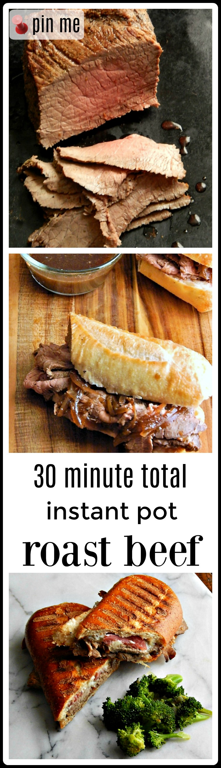 30 Minute Total Time Instant Pot Roast - beautiful, medium rare in minutes with no effort! Even a cheap roast turns out great! #InstantPotRoast #InstantPotRumpRoast #InstantPotRoastMediumRare