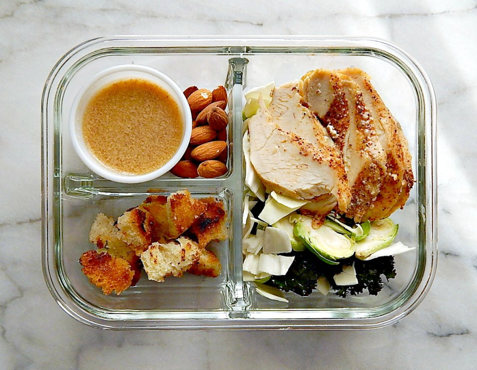 meal prep Shaved Brussels & Kale Salad with Sliced Chicken Breast & Cabbage