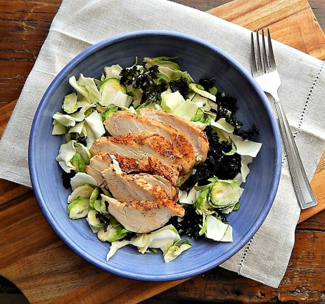 Shaved Brussels & Kale Salad with Sliced Chicken Breast & Cabbage