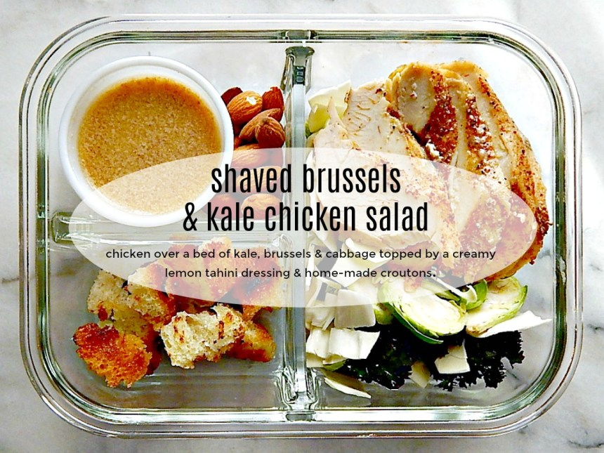 Shaved Brussels & Kale Salad with Sliced Chicken Breast meal prep