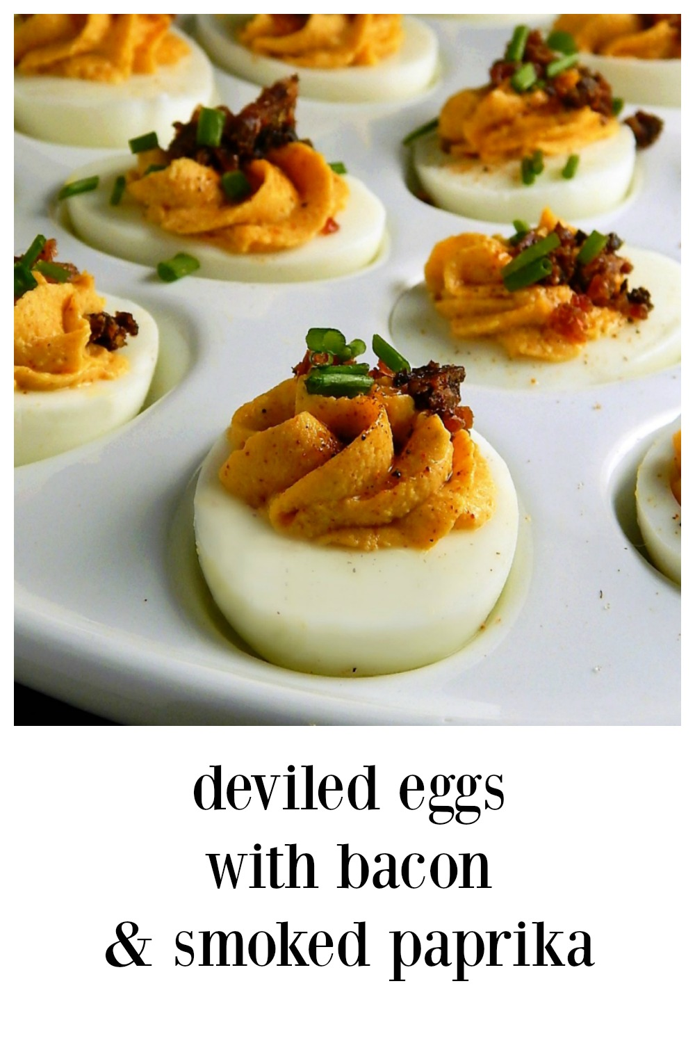 Deviled Eggs with Bacon & Smoked Paprika are just fun, fun, fun. Super easy, and the flavor is incredible. They'll be the hit of the party. #DeviledEggsBacon #DeviledEggsBaconSmoked Paprika #Deviled Eggs