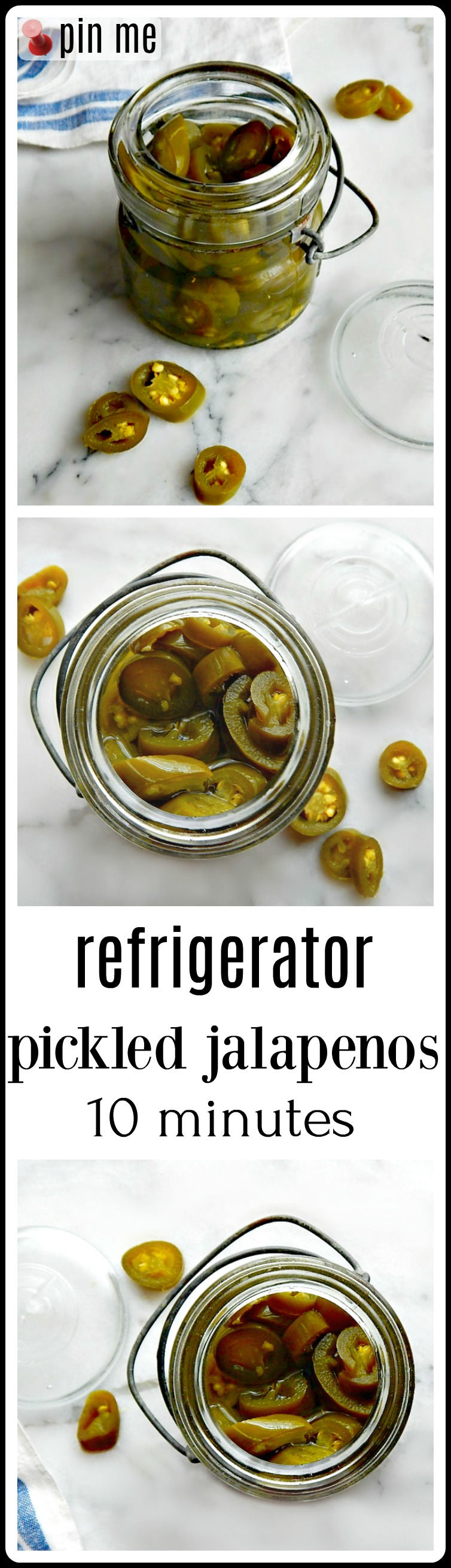 Refrigerator Pickled Jalapenos: Do yanno what's a great little thing to have on hand? Just to perk up a little Mexican food. Maybe toss on some tacos? Refrigerator Pickled Jalapenos. They're like 10 minutes to make and once you try them, you'll have that