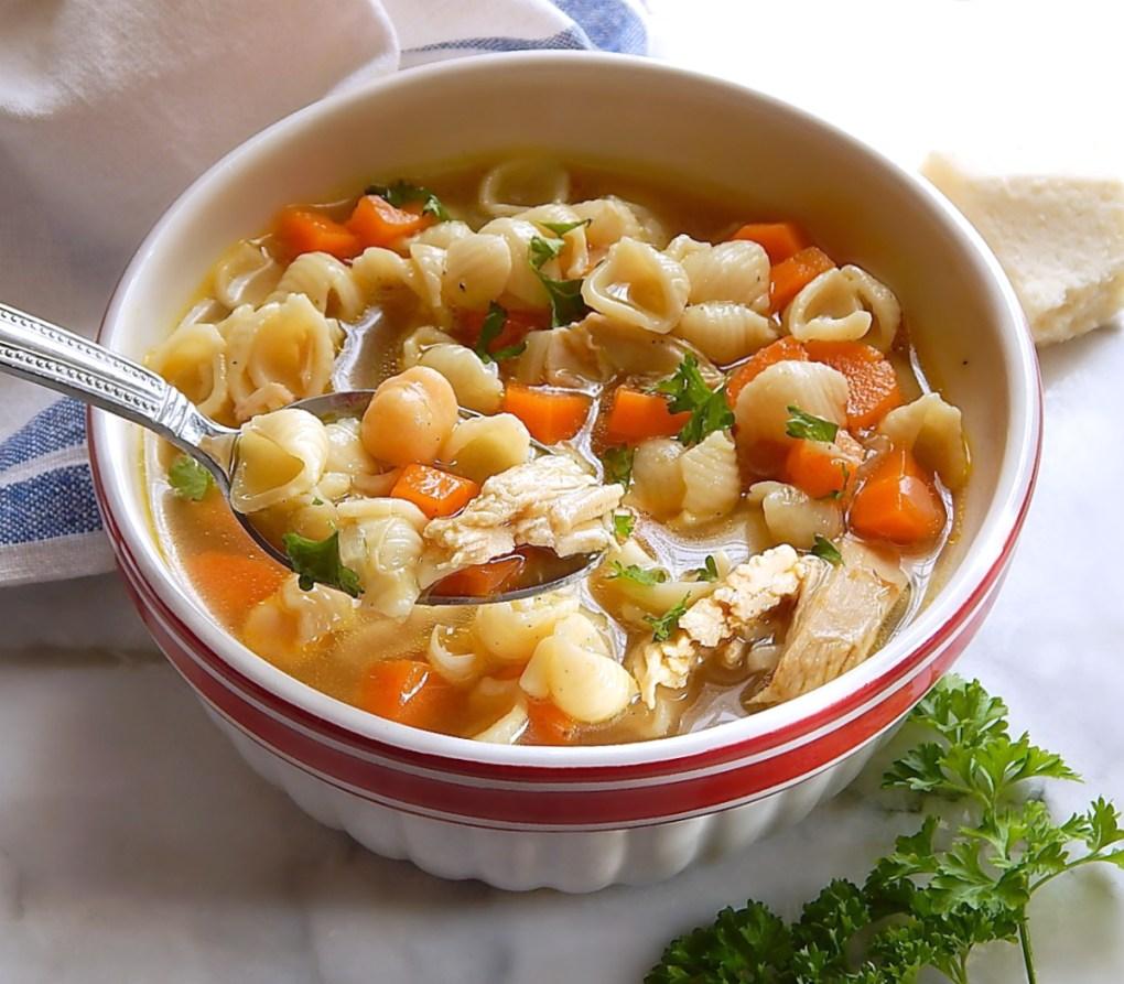 Chicken Chickpea Orecchiette Pasta Soup