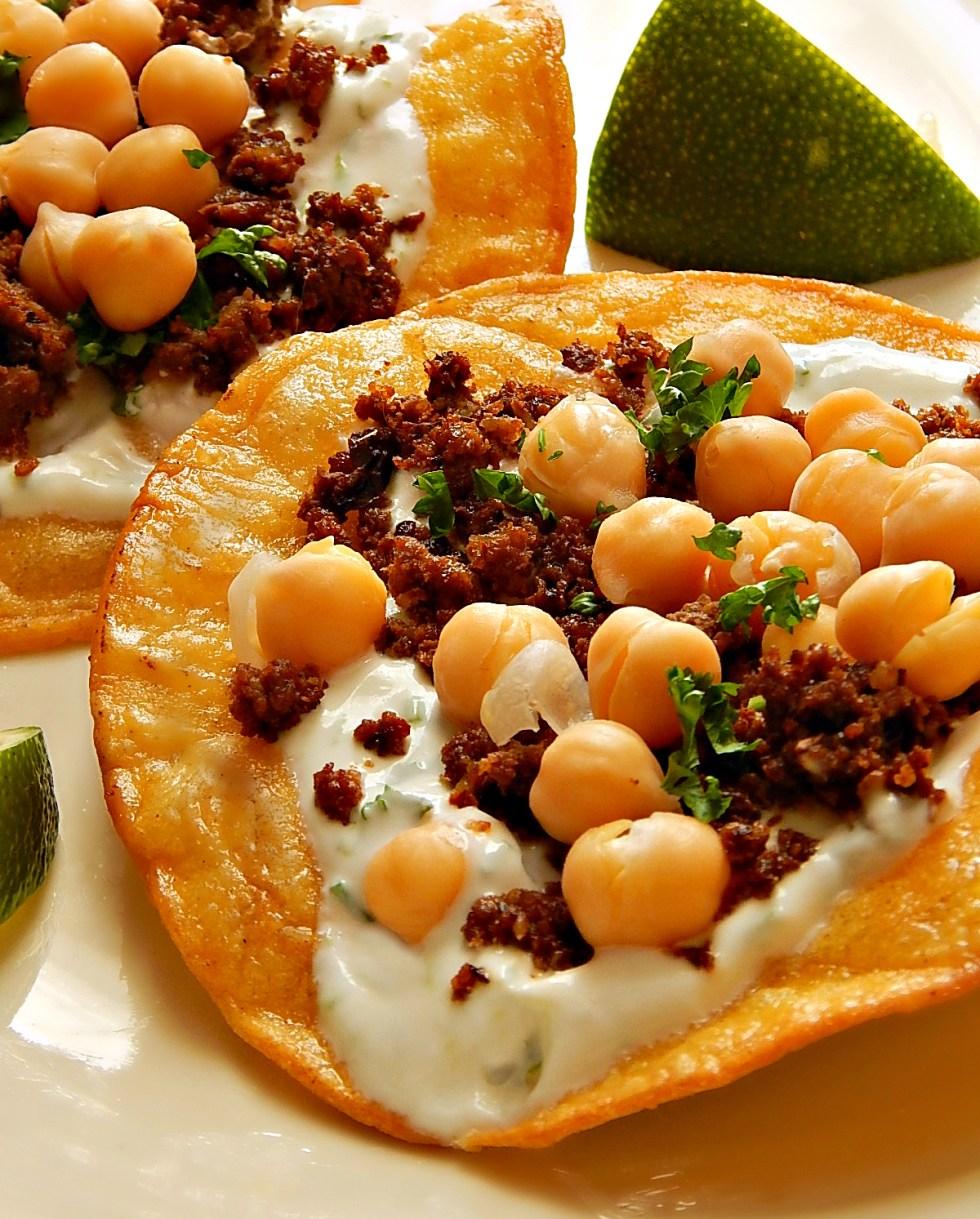 Chorizo & Chickpea Tostadas with Cilantro Lime Crema