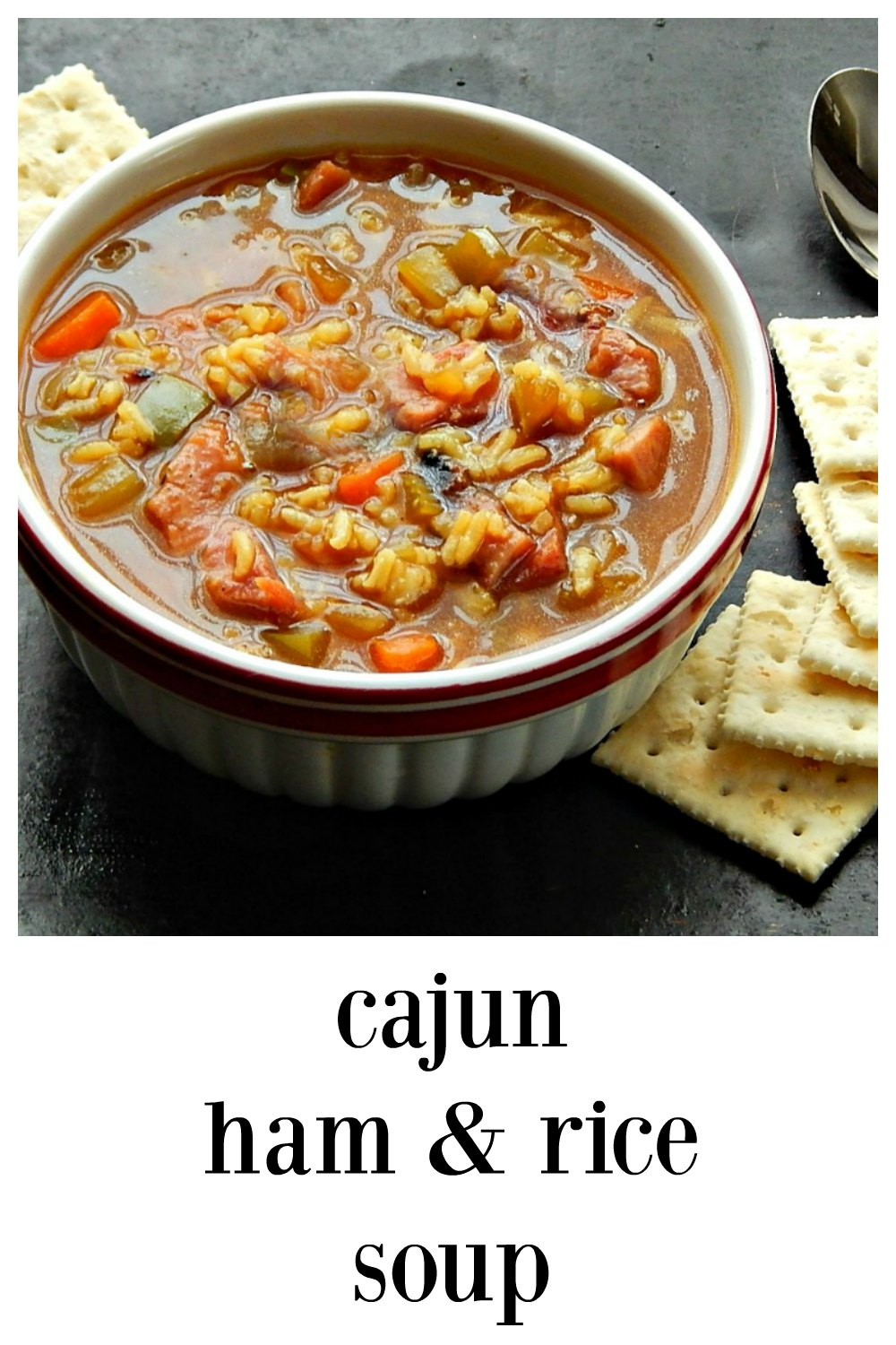 Cajun Ham & Rice Soup: Quick and easy, full of flavor, ham and hearty veggies. This is a great soup to use up that leftover ham. #Cajun Ham Rice Soup #CajunSoup #HamSoup #HamRiceSoup