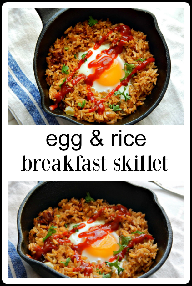 Egg & Rice Breakfast Skillet is more a method than a recipe. Egg & Rice Skillet works with any rice dish you have, paella, jambalaya, fried rice, Mexican rice, pilaf. It's all good! #Egg Rice Skillet Breakfast #Egg Rice Dish #leftover Rice recipe