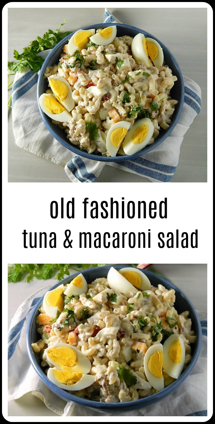 So over the hot hot weekend, I got the idea that I wanted some of that Old Fashioned Tuna Macaroni Salad. You know the one I mean, all cool, creamy deliciousness with a few crunchyveggies and that tuna that somehow melds in and makes everything so rich. #MacaroniSalad #MacaroniTunaSalad #TunaMacaroniSalad