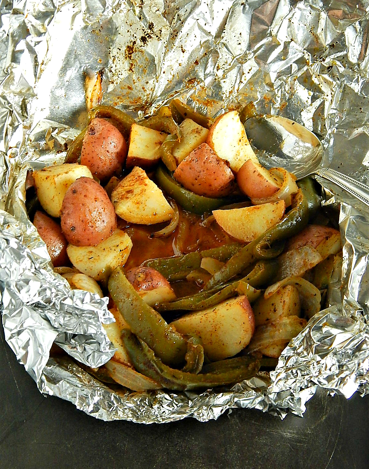 Foil Pouch Potatoes Peppers Onions