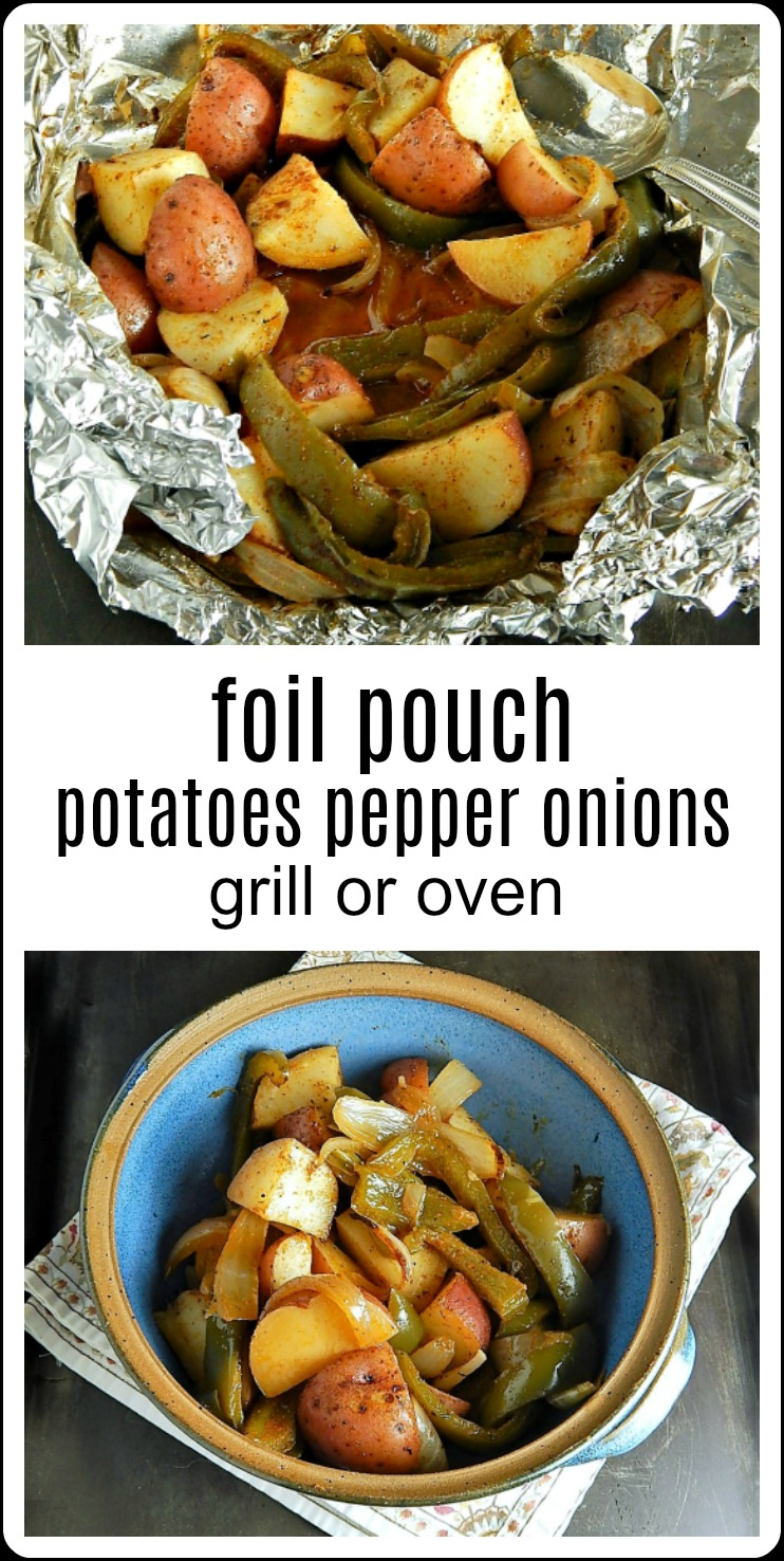 I'm always looking for a simple, easy side dish when we're grilling something and these Foil Pouch Potatoes Peppers Onions go with just about anything. Burgers, chicken, pork chops, steak. Just season, wrap in foil and bake or grill. So simple. So Summer #FoilPouchPotatoesPeppersOnions #FoilPotatoesPeppersOnions #GrilledPotatoesPeppersOnions