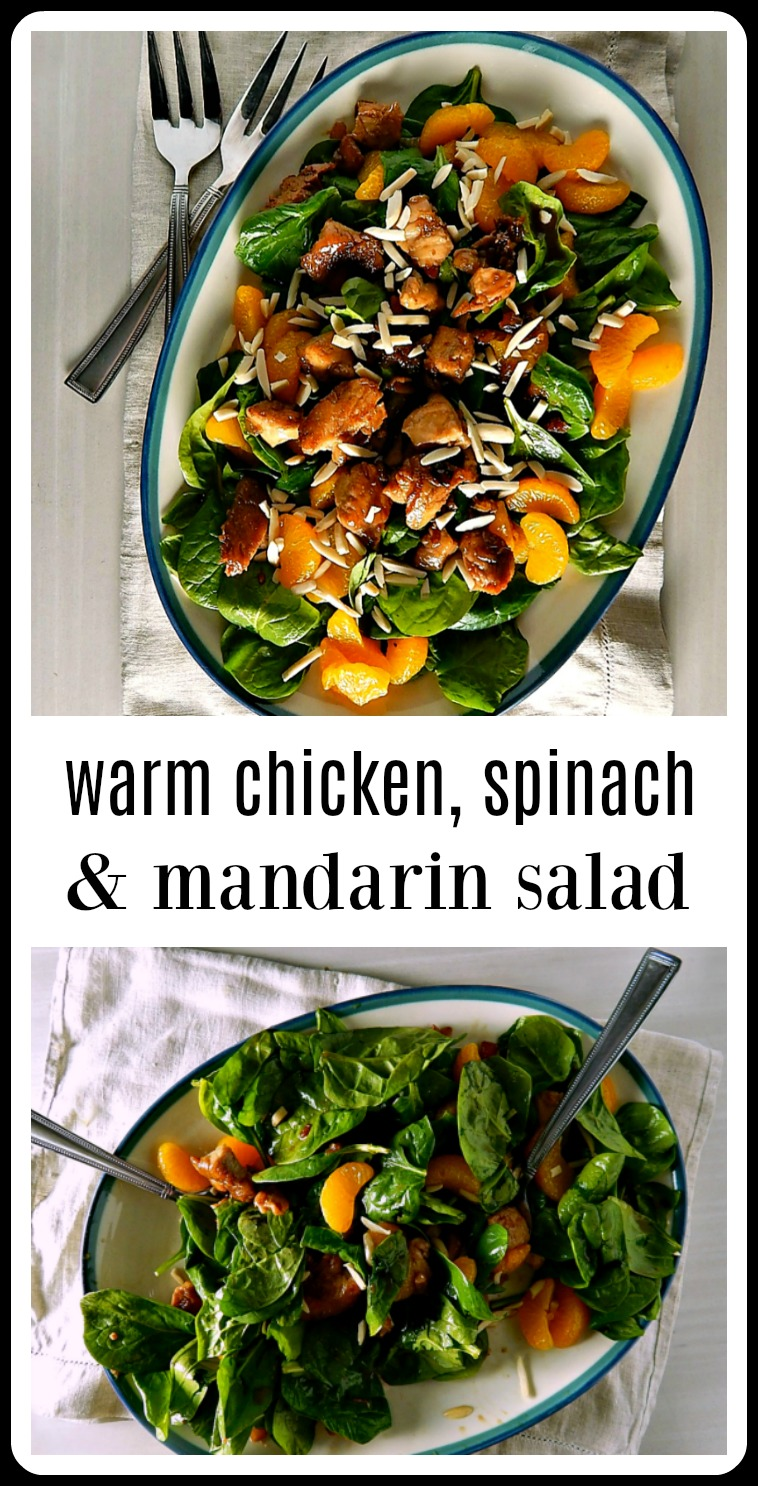 This Warm Spinach Chicken Mandarin Salad is a beautiful thing: When that warm, rich, Asiany chicken mixture hits those cool spinach and Mandarins, it's like an explosion of flavors and textures and the warmth just seems to intensify the Mandarins and spinach. #SpinachSalad #AsianSalad #AsianChickenSalad