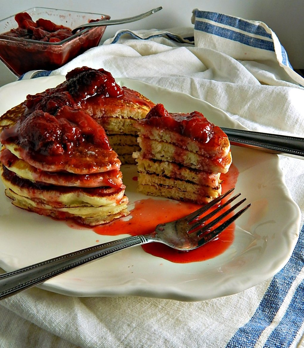 Cooks Illustrated Buttermilk Pancakes with Fresh Strawberry Compote