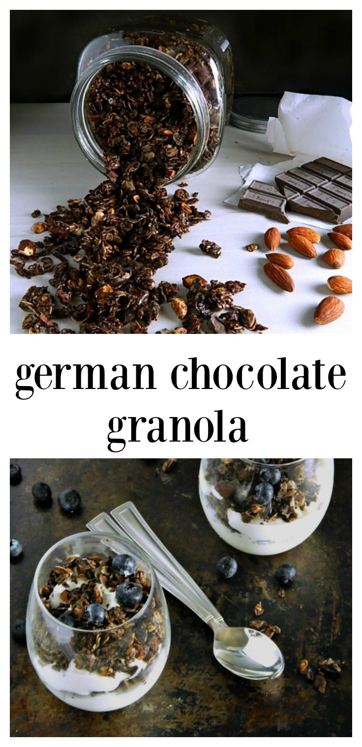 German Chocolate Granola is so good, you'll think you're sinning! Have it for breakfast or sprinkle it in yogurt parfaits. #ChocolateGranola #GermanChocolateGranola #GranolaYogurtParfaits