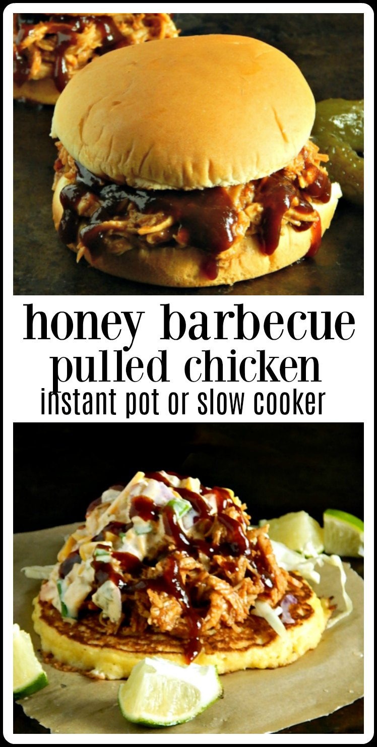 Make ahead Honey Barbecue Pulled Chicken in the Slow Cooker or Instant Pot. Dinner tonight and extra in the freezer for quick time-saving meals, later. #ChickenMealPrep #HoneyBarbecueChicken #HoneyBarbecueChickenInstantPot #HoneyBarbecueChickenSlowCooker
