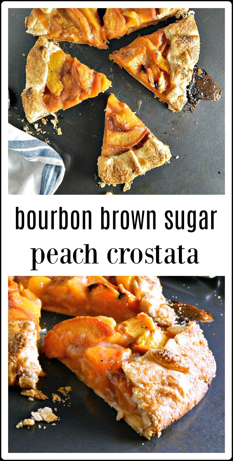 No fuss, no bother, this glorious Bourbon Brown Sugar Peach Crostata is the dessert you want when the summer peaches start rolling in. #PeachCrostata #BourbonBrownSugarPeachCrostata #PeachPie #PeachDessert