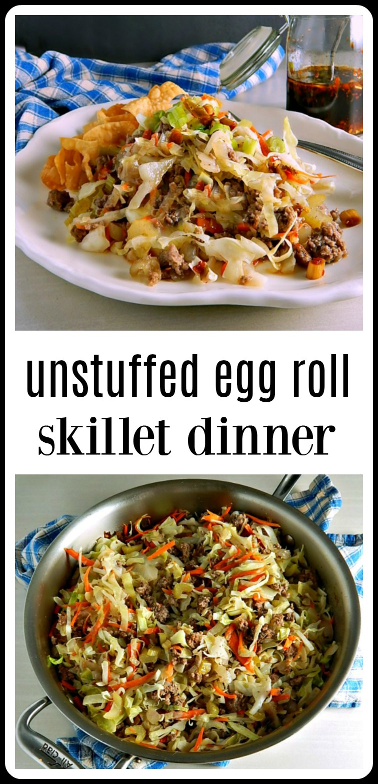 Unstuffed Egg Roll Skillet Dinner have all the flavors of your favorite Egg Roll, none of the hassle. So delish, low carb and quick and easy! Make with beef, pork, turkey or chicken #EggRollSkillet #UnstuffedEggRollSkillet