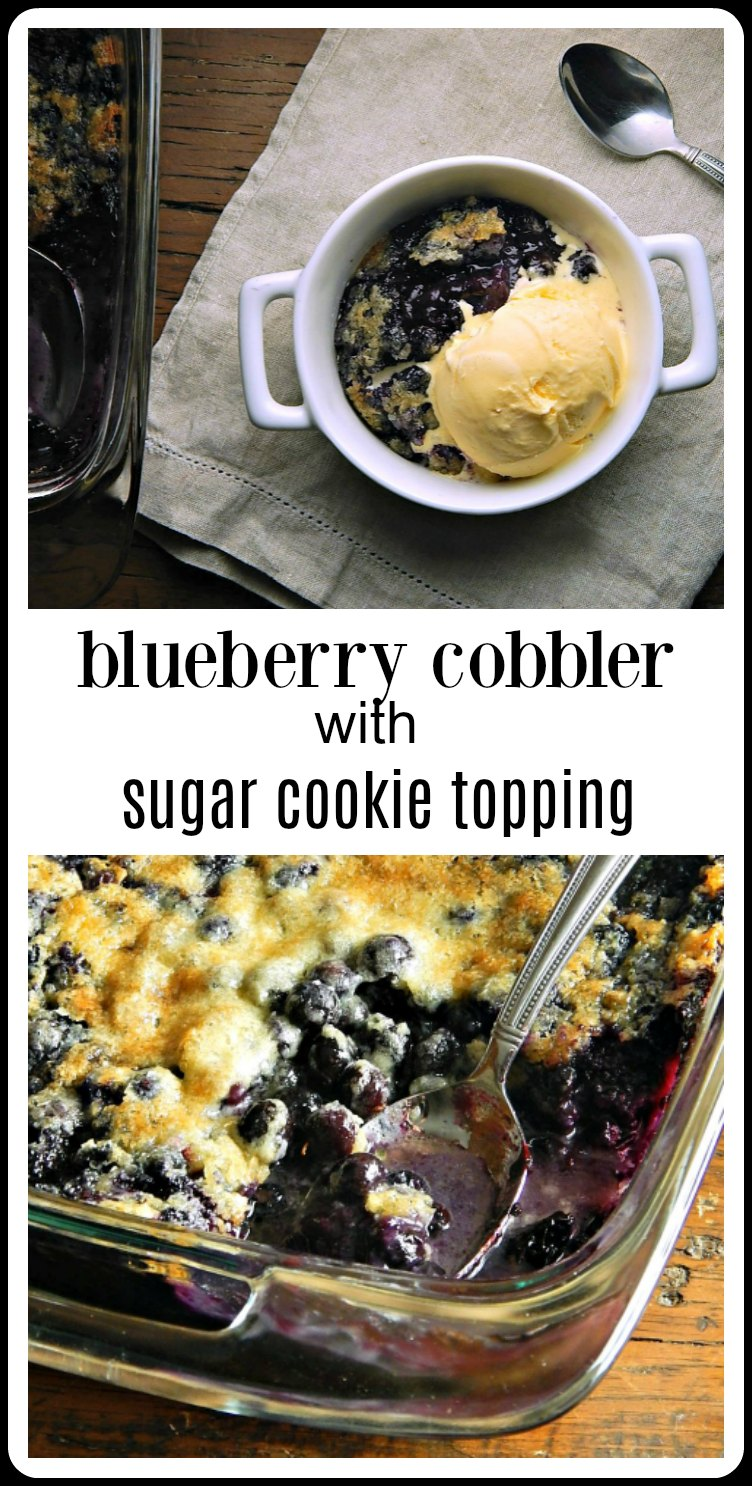 This Blueberry Cobbler with a Sugar Cookie Topping is hands down my fave Cobbler of all. I love the decadent thick bubbly layer of juicy blueberries and the way they bubble up through the crispy, golden brown and delicious Sugar Cookie Topping! #Blueberry Cobbler #BlueberryCobblerSugarCookieTopping