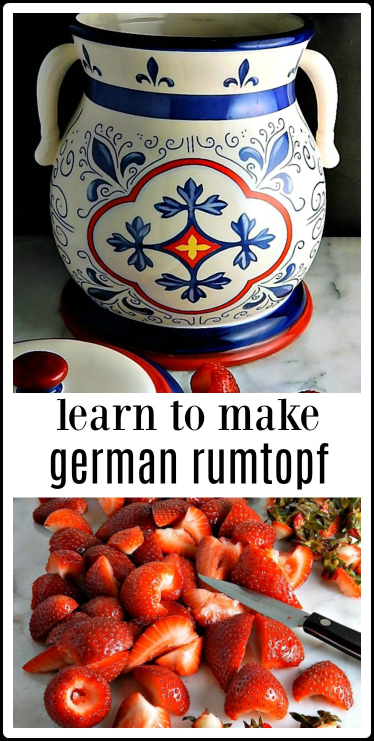 How to Make German Rumtopf: Start in the spring with Strawberries, and as each fruit comes into season, add in layers with sugar and rum. Leave it to mature and you'll be richly rewarded in the winter. #GermanRumtopf #MakingRumtopf