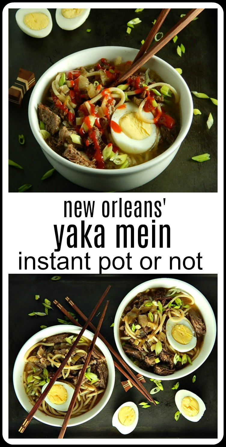 Whether it's Instant Pot Yakamein or Instant Pot Yaka Mein, you're going to love this New Orlean's classic hangover cure - whether you have a hangover or not! Stovetop directions, too. #YakaMein #InstantPotYakaMein #NewOrleansYakaMein