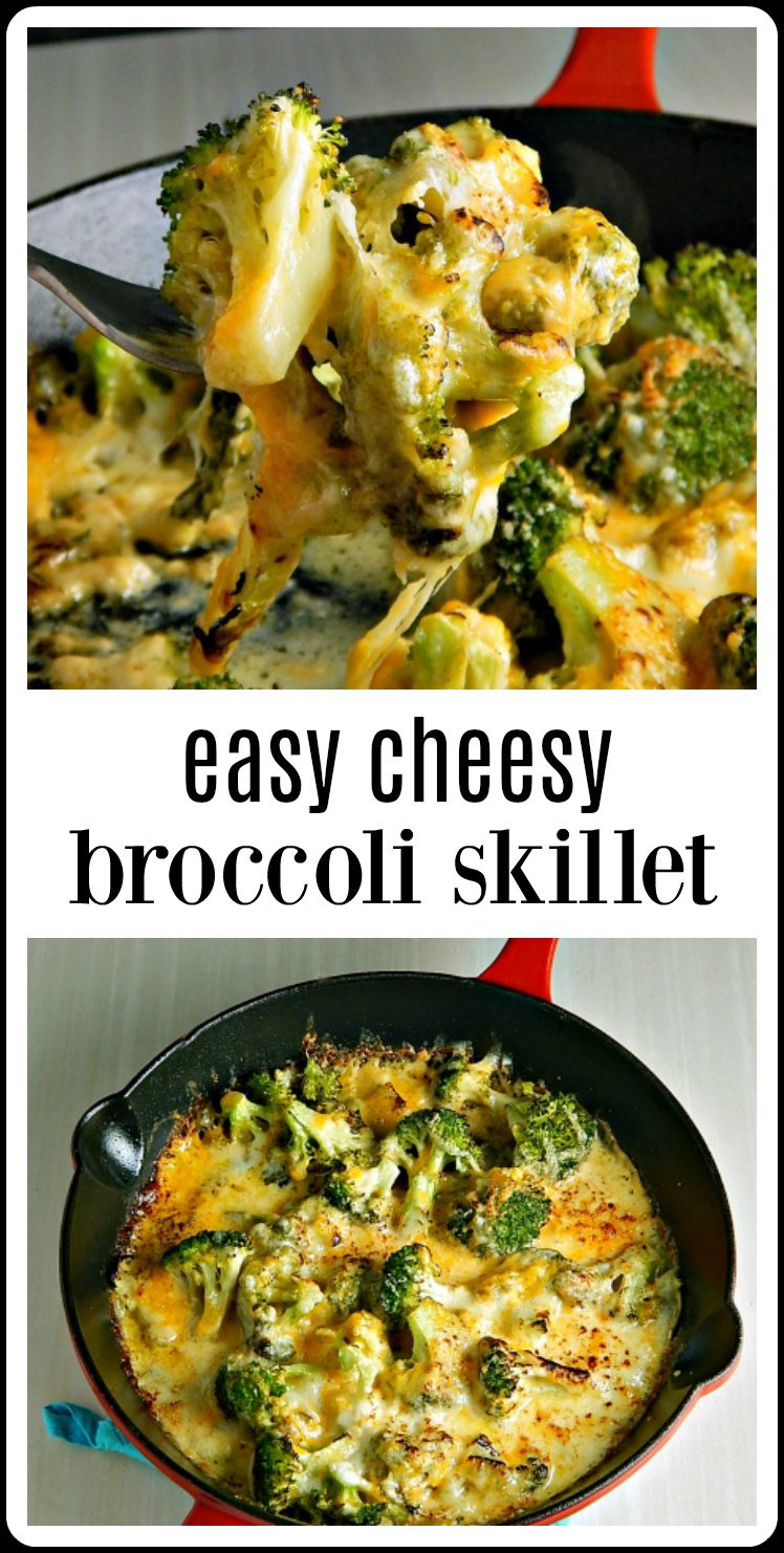 Easy Cheesy Broccoli Skillet is over the top cheesy deliciousness in no time at all! Great for a side for something simple, even better for a dinner party! #Broccoli #BroccoliCheeseDish #BroccoliCheeseSkillet