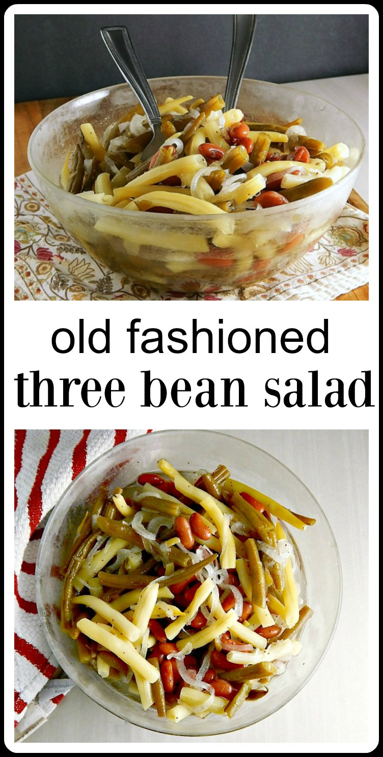 There's nothing better than this classic Old Fashioned Three Bean Salad on a hot summer's day! Perfect for a barbecue, potluck or picnic. Makes enough to feed a crowd & keeps very well #ThreeBeanSalad #OldFashionedThreeBeanSalad