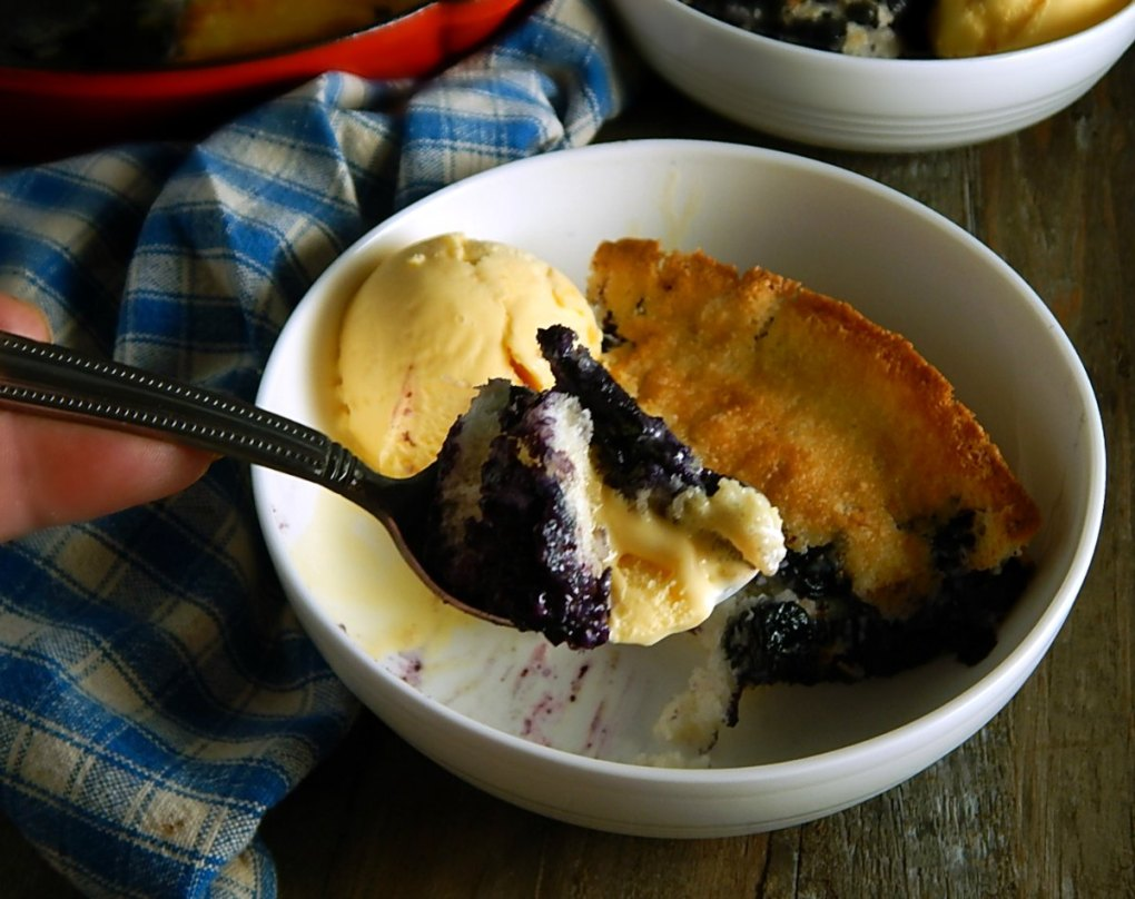 Simple Cast Iron Skillet Blueberry Cobbler