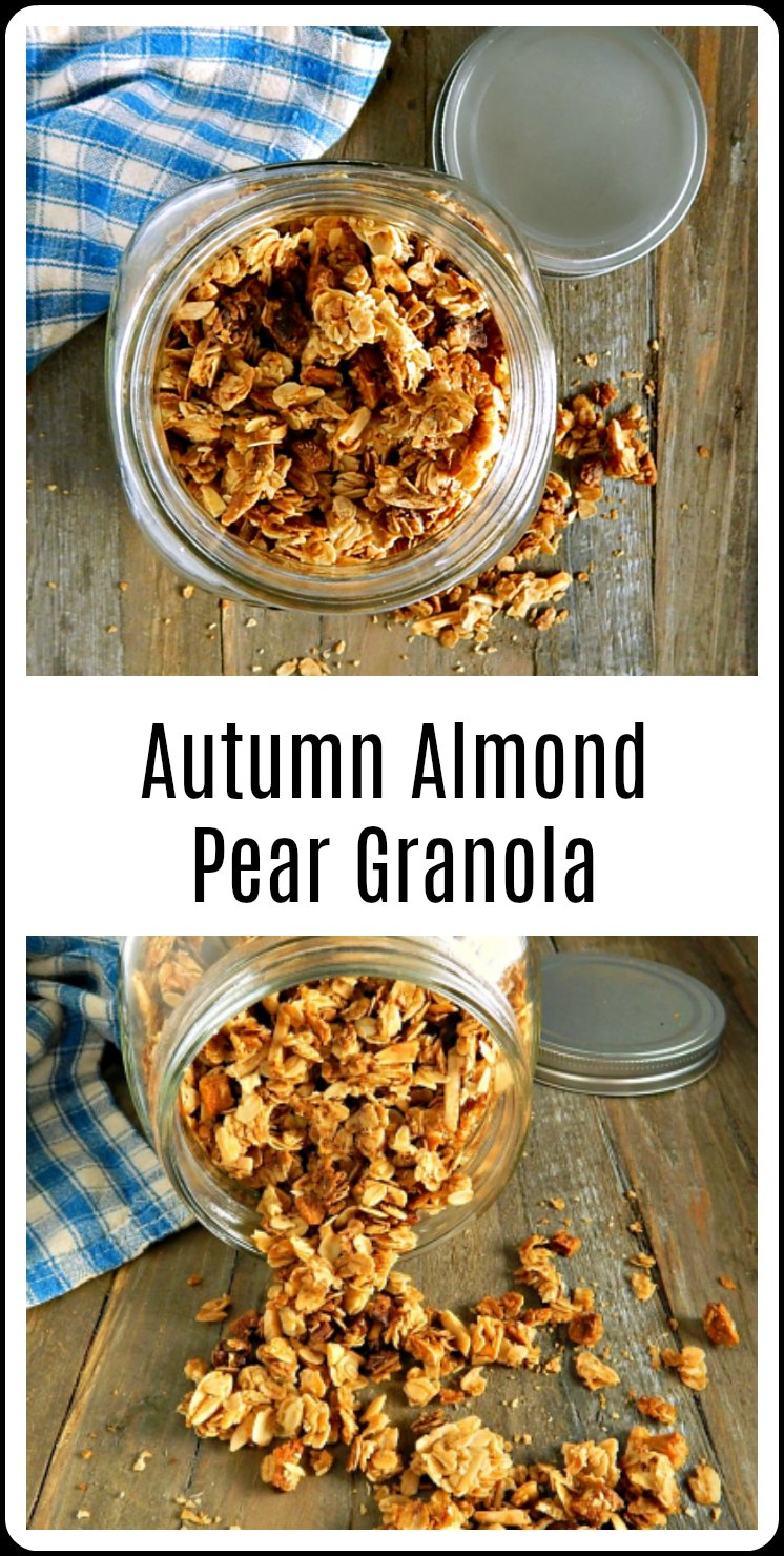 I'm super psyched about the fall flavors in Autumn Almond Pear Granola and I think you will be, too! Easy to make, healthy & so delish. #PearGranola  #HomemadeGranola #HomemadePearAlmondGranola