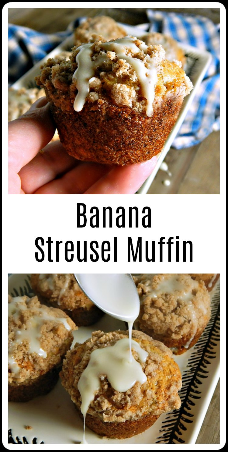 This easy, mix in minutes recipe from King Arthur Banana Streusel Muffins was developed for the Junior Competition at the fair! Easy and oh so delish! Gild the lily with a powdered sugar glaze. #BananaMuffins #KingArthurBananaMuffins #BananaMuffins #StateFairBananaMuffins