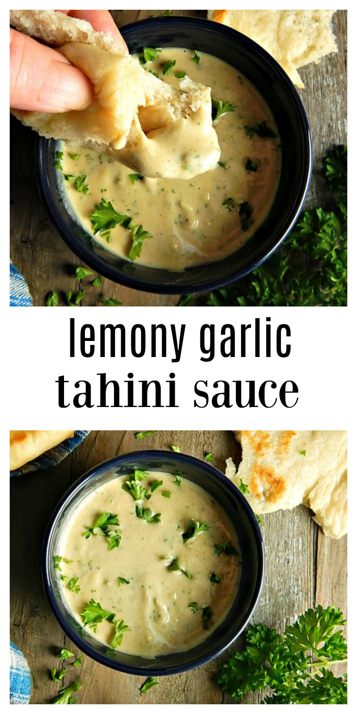 That tahini sauce that's served with wraps and pitas in the Middle Eastern restaurants? That's a Lemon Garlic Tahini sauce & it can be made in minutes. #TahiniSauce #LemonGarlicTahiniSauce