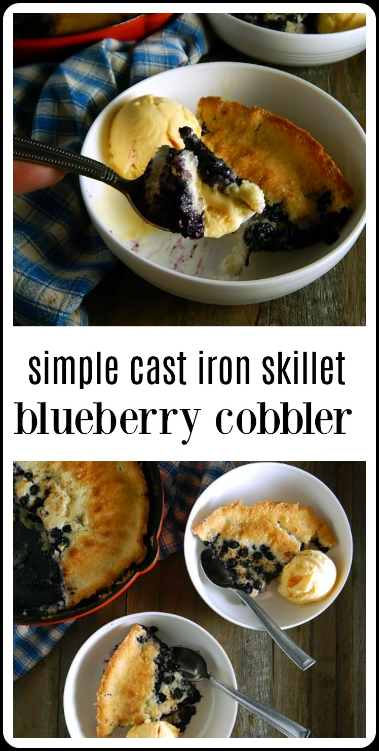 This Simple Cast Iron Skillet Blueberry Cobbler by Chef Michael Symon is a fast and easy down-home dessert - make it at the drop of a hat! #BlueberryBuckle #BlueberryCobbler #BlueberryDessert #MichaelSymon