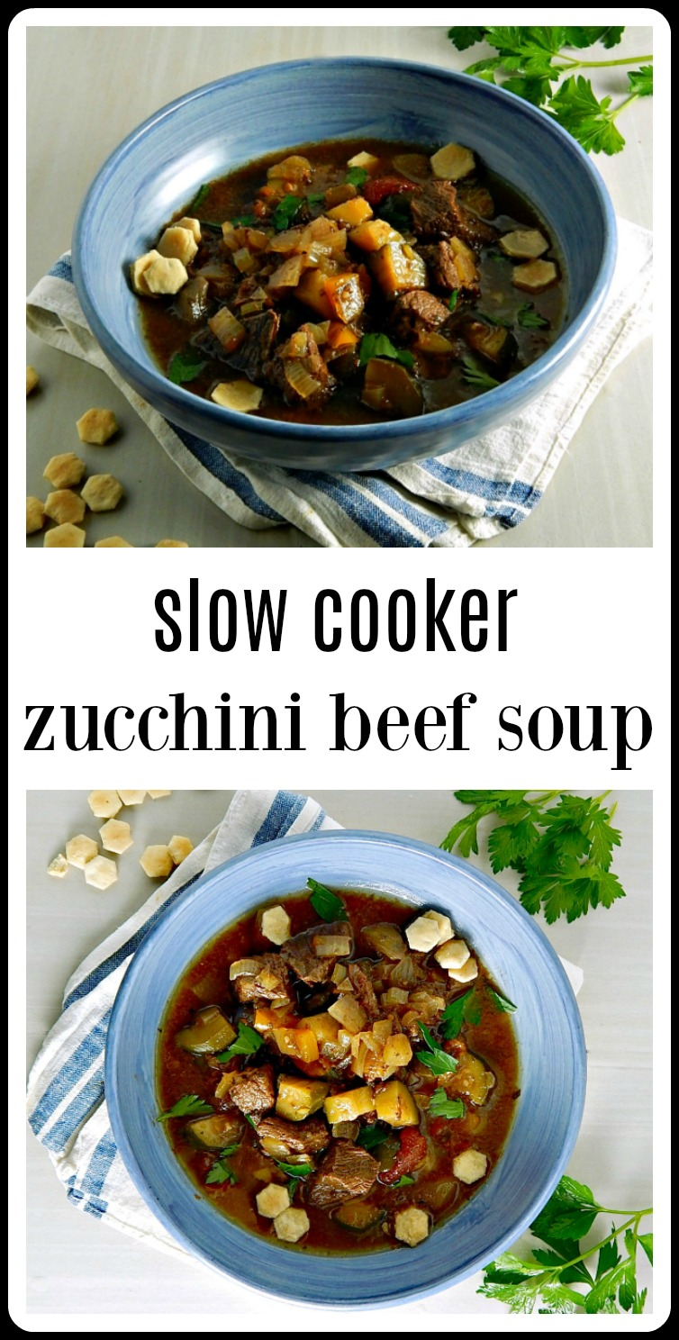 This Slow Cooker Zucchini Beef Soup has an Italian flair - there couldn't be a more perfect, no effort end of summer meal. #SlowCookerZucchiniBeefSoup #ZucchiniSoup