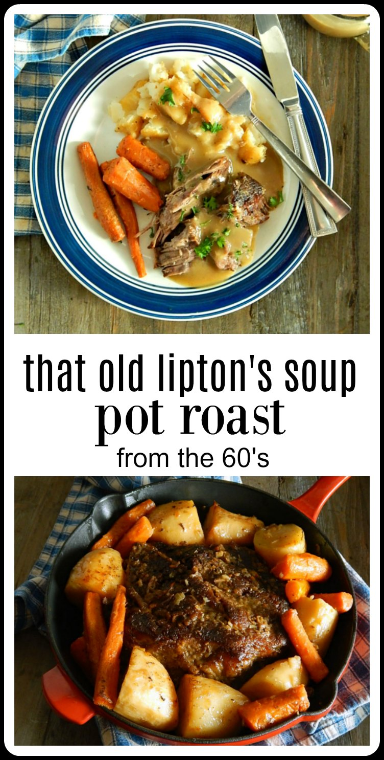 That Old Lipton Onion Soup Pot Roast Recipe is still a classic. Done up with potatoes and carrots in the oven or slow cooker it tastes like home. #PotRoast #LiptonsPotRoast #LiptonOnionPotRoast #SlowCookerLiptonsPotRoast