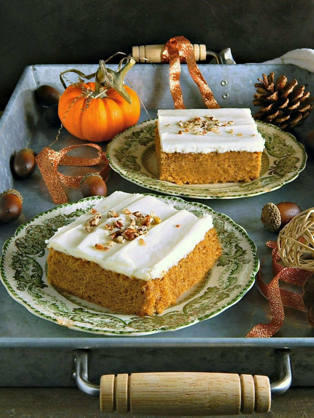Easy Pumpkin Spice Sheet Cake with Mom's Cream Cheese Frosting