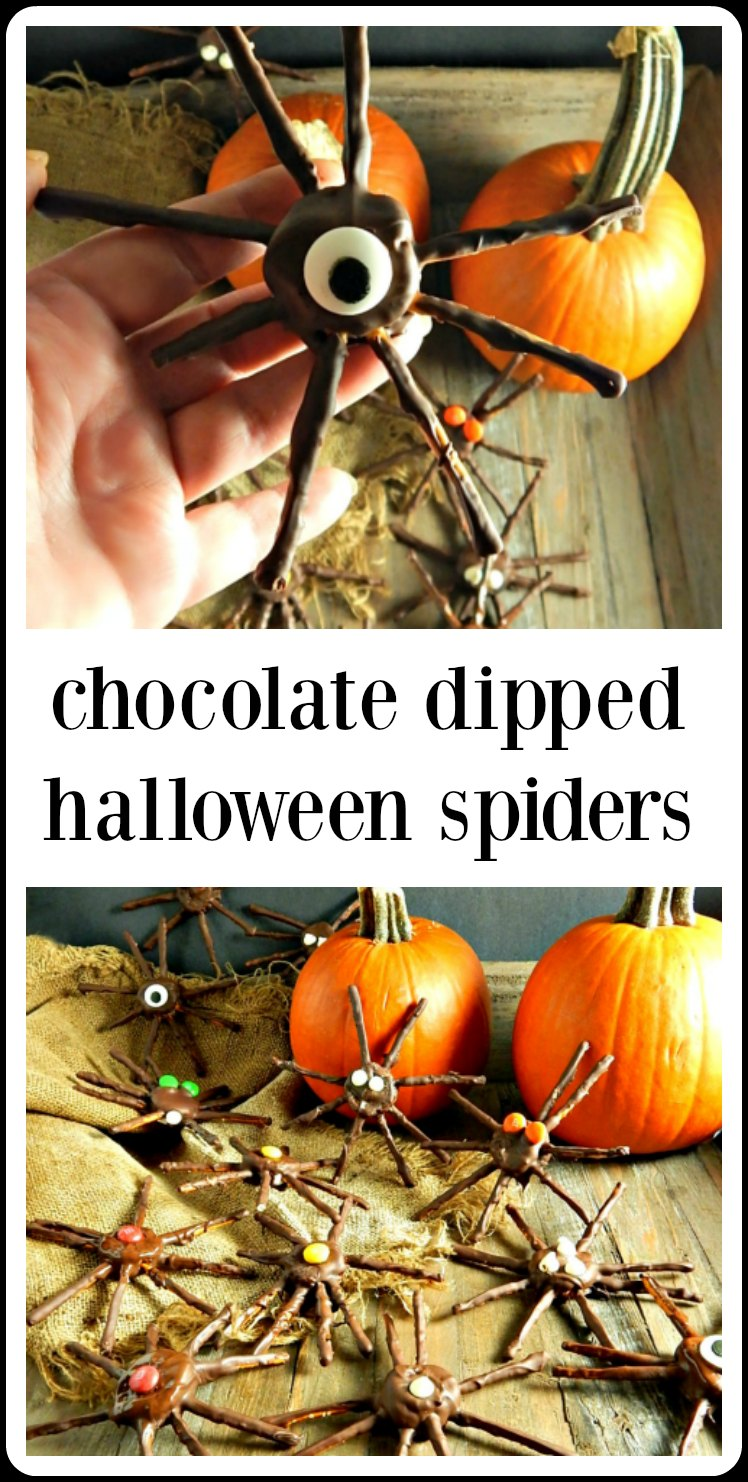 Chocolate Dipped Halloween Spiders are fun and cute and perfect for Halloween, they're salty sweet chocolate deliciousness! Make these with the kids for a delicious Halloween project! #ChocolateDippedHalloweenSpiders