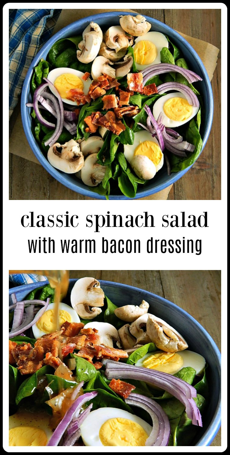 This is the one. The absolute Classic Spinach Salad with Warm Bacon Dressing just as it's always been! And it's just as good as you remember. #SpinachSalad #ClassicSpinachSalad #SpinachSaladBaconDressing