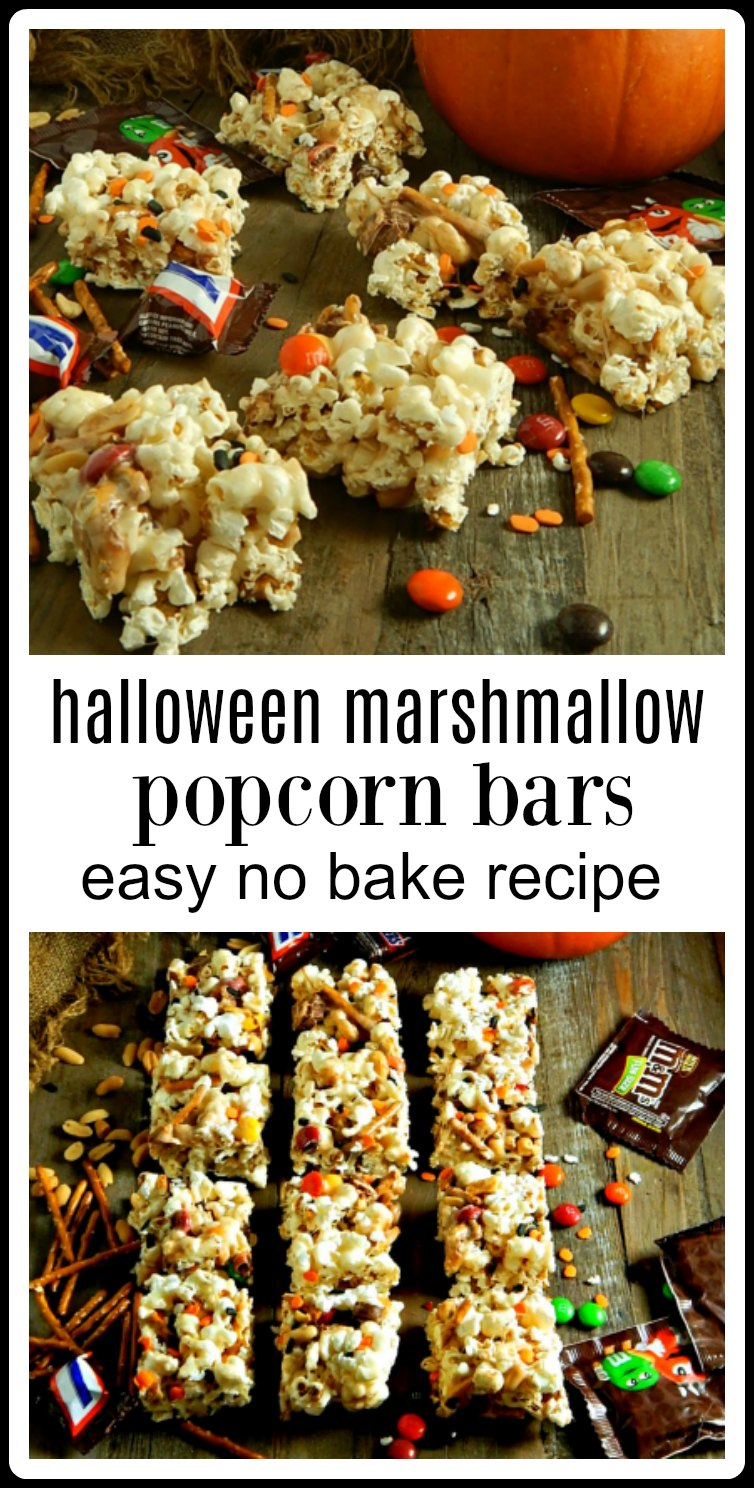 Halloween Marshmallow Popcorn Bars are an easy no-bake treat that can be customized with all kinds of candy or favorite