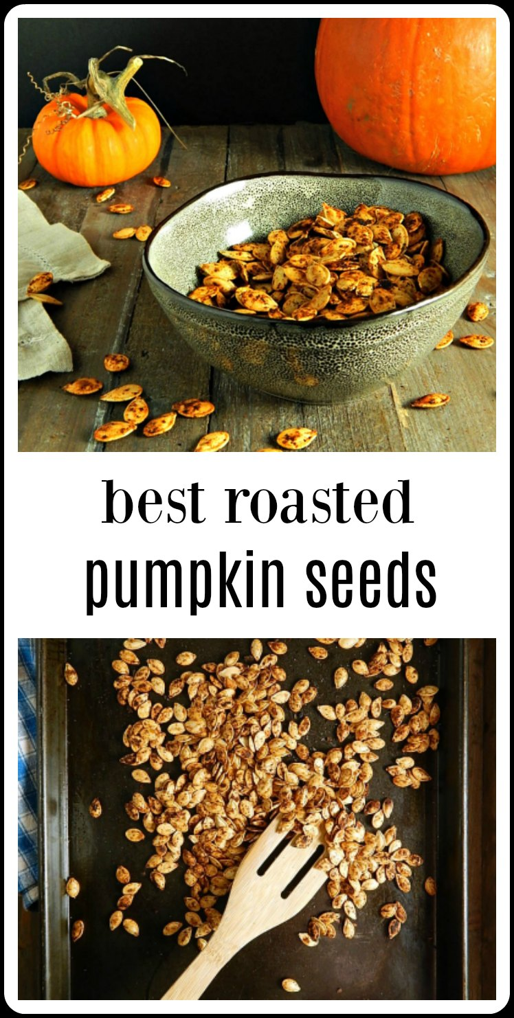 These are The Best Roasted Pumpkin Seeds. Best of all, the method removes all the fiber EASILY and leaves you with crispy, seeds that are divine! #BestPumpkinSeeds #PumpkinSeeds